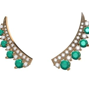 14k natural emerald and diamond climber earrings